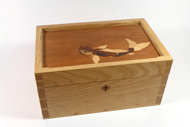 Marquetry box with dovetails